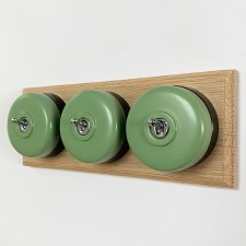 Round Dolly Light Switch 3 Gang Green on Oak Pattress with Black Mount