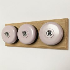 Round Dolly Light Switch 3 Gang Lilac on Oak Pattress with Black Mount