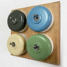 Round Dolly Light Switch 4 Gang Mix and Match on Oak Pattress with White Mounts