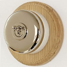 Round Dolly Light Switch & Circular Oak Base Polished Nickel
