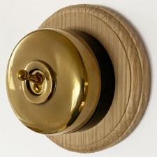 Round Dolly Light Switch & Circular Oak Base Renovated Brass & Black Mount