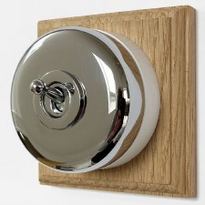 Round Dolly Light Switch on Wooden Base Polished Chrome 1 Gang