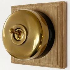 Round Dolly Light Switch 1 Gang Renovated Brass (Black Base)