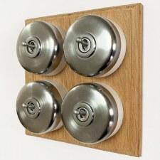 Round Dolly Light Switch on Oak Base Satin Chrome 4 Gang