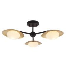 Plush 3 Light Globe Semi-Flush Gold & Dark Bronze