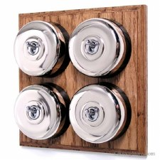 Round Dolly Light Switch on Wooden Base Nickel 4 Gang