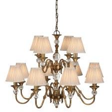 Interiors 1900 Polina 12 Light Chandelier Antique Brass Beige Shades