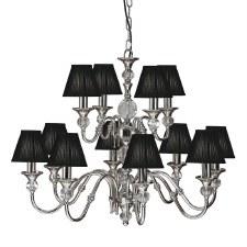 Interiors 1900 Polina 12 Light Chandelier Polished Nickel Black Shades