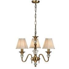 Interiors 1900 Polina 3 Light Chandelier Antique Brass Beige Shades