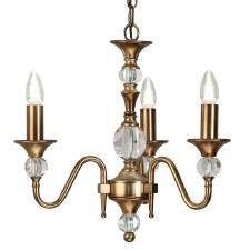 Interiors 1900 Polina 3 Light Chandelier Antique Brass