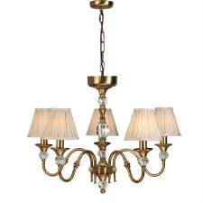 Interiors 1900 Polina 5 Light Chandelier Antique Brass Beige Shades