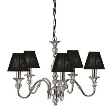 Interiors 1900 Polina 5 Light Chandelier Polished Nickel Brown Shades