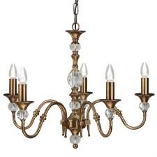 Interiors 1900 Polina 5 Light Chandelier Antique Brass