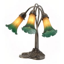 Pond Lily Art Nouveau Table Lamp with Amber & Green Shades