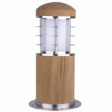 Elstead Poole Mini Bollard Light Teak & Stainless Steel