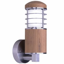 Elstead Poole Outdoor Wall Light Teak & Stainless Steel