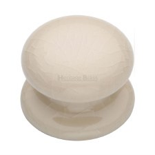 Heritage Porcelain Cabinet Knob 32mm Cream Crackle