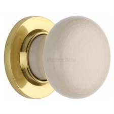 Heritage Porcelain Door Knobs Cream Crackle with Polished Brass Rose