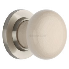 Heritage Porcelain Door Knobs Cream Crackle with Satin Nickel Rose