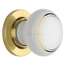 Heritage Porcelain Door Knobs White & Gold Line with Polished Brass Rose