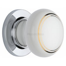 Heritage Porcelain Door Knobs White & Gold Line with Polished Chrome Rose