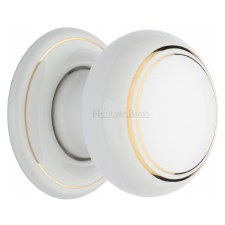 Heritage Porcelain Door Knobs White & Gold Line