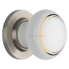Heritage Porcelain Door Knobs White & Gold Line with Satin Nickel Rose