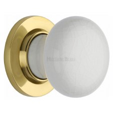 Heritage Porcelain Door Knobs White Crackle with Polished Brass Rose