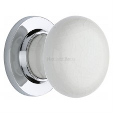 Heritage Porcelain Door Knobs White Crackle with Polished Chrome Rose