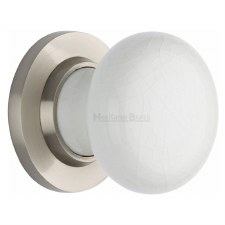 Heritage Porcelain Door Knobs White Crackle with Satin Nickel Rose