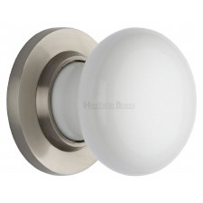 Heritage Porcelain Door Knobs White with Satin Nickel Rose