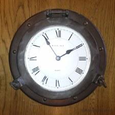 Porthole Clock 30cm Antique Copper