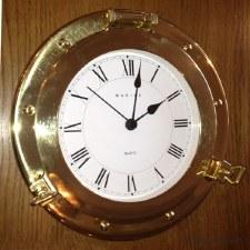 Porthole Clock 25cm Polished Brass