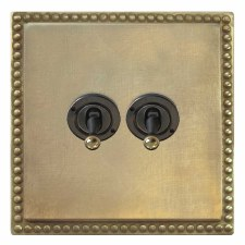 Regency Dolly Switch 2 Gang Antique Satin Brass