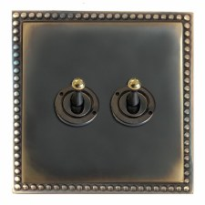 Regency Dolly Switch 2 Gang Dark Antique Relief