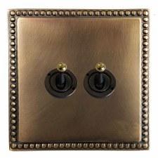 Regency Dolly Switch 2 Gang Hand Aged Brass