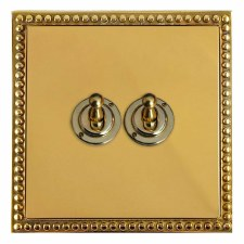 Regency Dolly Switch 2 Gang Polished Brass Lacquered