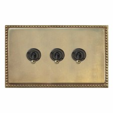 Regency Dolly Switch 3 Gang Antique Satin Brass