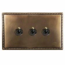 Regency Dolly Switch 3 Gang Hand Aged Brass