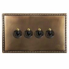 Regency Dolly Switch 4 Gang Hand Aged Brass