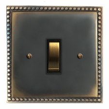 Regency Rocker Light Switch 1 Gang Dark Antique Relief