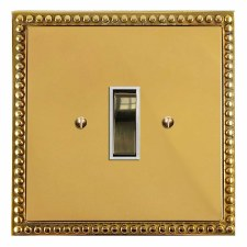 Regency Rocker Light Switch 1 Gang Polished Brass Lacquered & White Trim