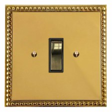 Regency Rocker Light Switch 1 Gang Polished Brass Lacquered & Black Trim