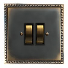 Regency Rocker Light Switch 2 Gang Dark Antique Relief