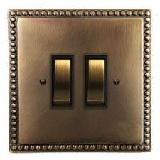 Regency Rocker Light Switch 2 Gang Hand Aged Brass