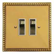 Regency Rocker Light Switch 2 Gang Polished Brass Lacquered & White Trim