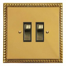 Regency Rocker Light Switch 2 Gang Polished Brass Lacquered & Black Trim
