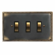 Regency Rocker Light Switch 3 Gang Dark Antique Relief