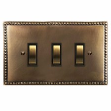 Regency Rocker Light Switch 3 Gang Hand Aged Brass