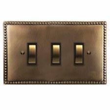 Regency Rocker Light Switch 3 Gang Hand Aged Brass